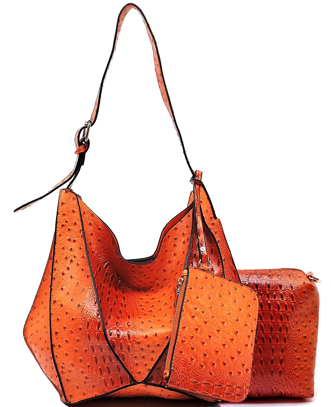 orange 3pc Le Miel Ostrich Embossed Long Strap Hobo w Pullout Crossbody + Coin Pouch