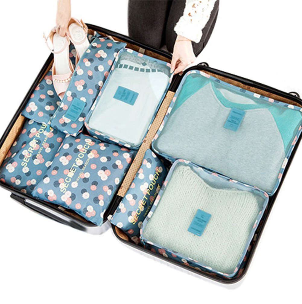 7Pcs Waterproof Travel Storage Bags Clothes Packing Cube Luggage Organizer Pouch (Blue Daisy) by VAYEEBO (Image #1)