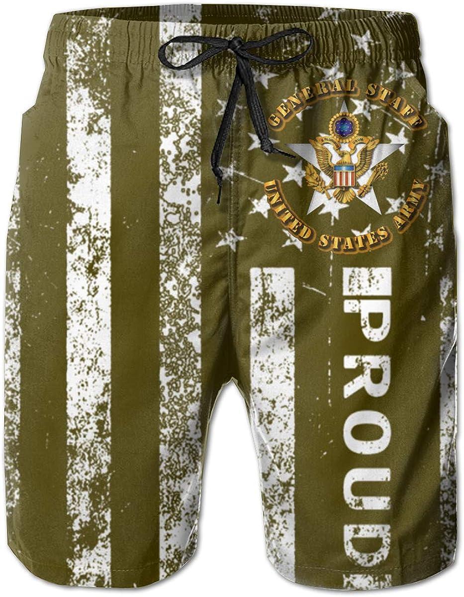 SUNSUNNY US Army General Staff Mens Boardshorts Swim Trunks Beach Athletic Shorts