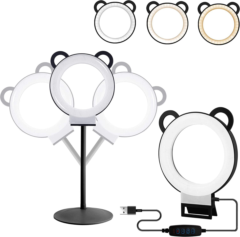 Ring Light,6inch Led Ring Light Kit Adjustable Desktop Lamp USB Plug with Stand,Lusweimi Mini Tabletop Light for Live Stream/Makeup/YouTube Video, 3 Light Modes & 11 Level (Black)
