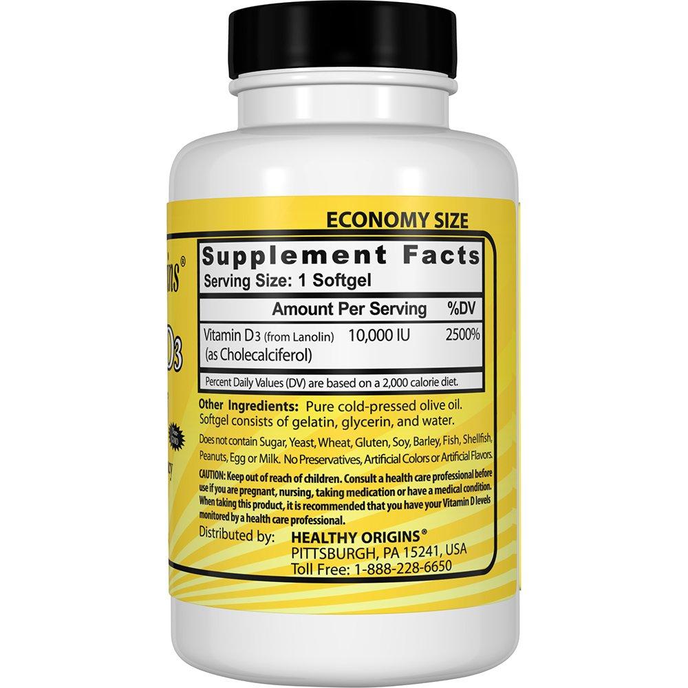 Healthy Origins Vitamin D3 10,000 IU (Non-GMO), 360 Softgels by Healthy Origins (Image #4)