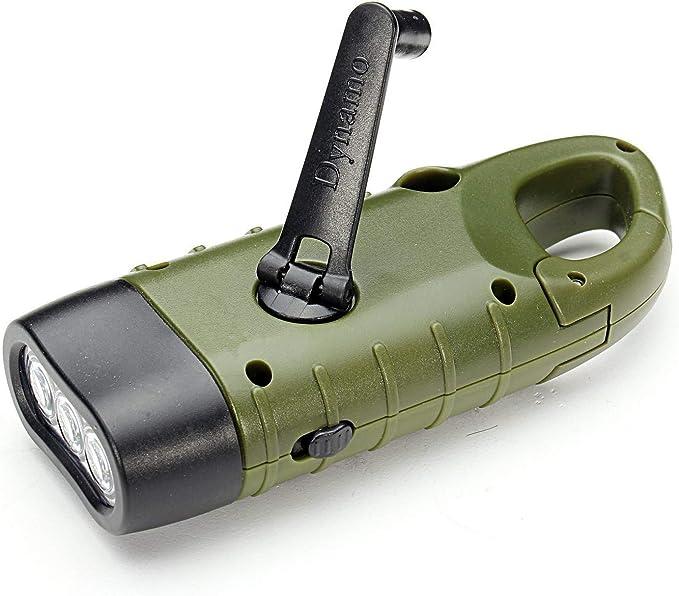 Ahagut LED Dynamo Light avec manivelle Lampe de Poche Camping Emergency LED Lampe de Poche pour Camping Outdoor Escalade Randonn/ée Jaune