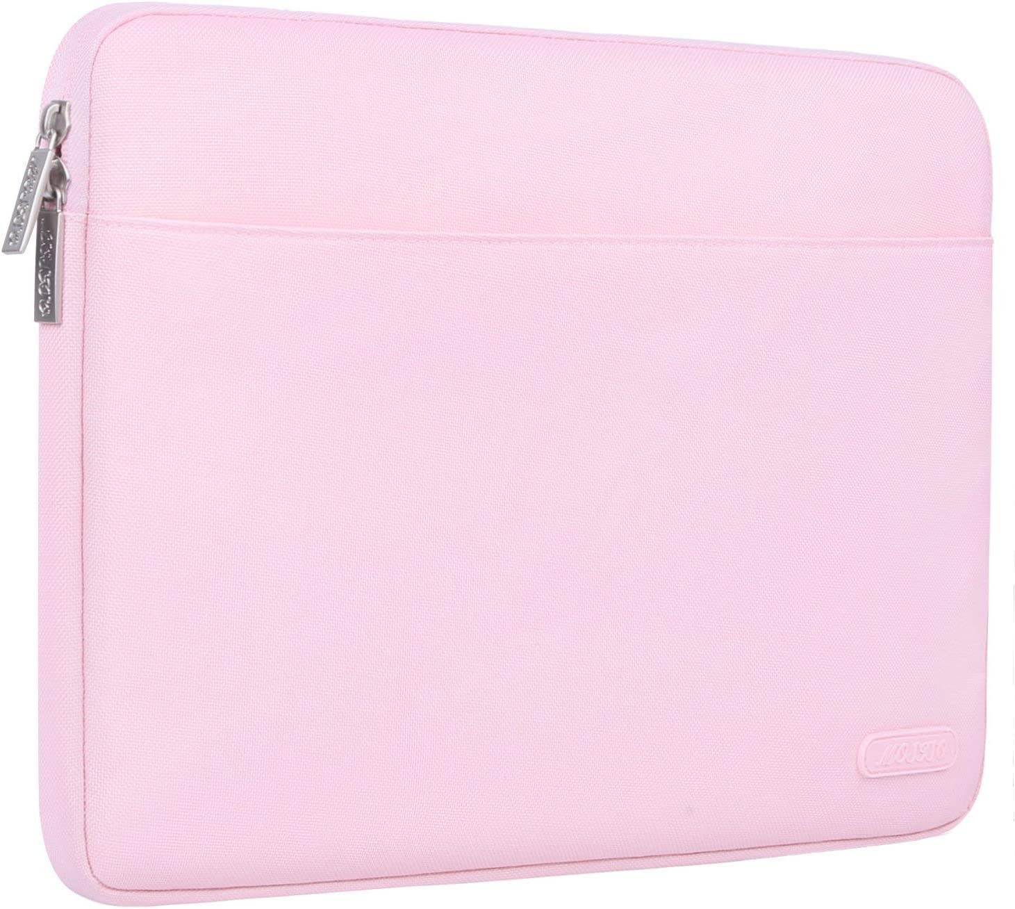 MOSISO 360 Protective Laptop Sleeve Compatible with 13-13.3 inch MacBook Pro, MacBook Air, Notebook with Back Handy Strap, Shockproof Polyester Bag Drop-Proof Carrying Case Cover, Pink
