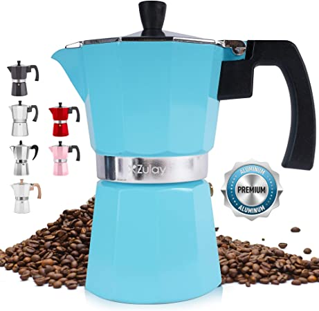 Zulay Cafetera de espresso clásica para cocina de gran sabor, fuerte y fuerte, estilo italiano clásico 5.5, para café delicioso, fácil de operar y de limpieza rápida (azul)