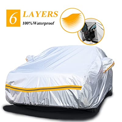 "Autsop Car Cover Waterproof All Weather,6 Layers Car Cover for Automobiles Outdoor Full Cover Hail UV Protection with Zipper, Universal A3-3XXL(Fits Sedan 194"" to 208""): Automotive"