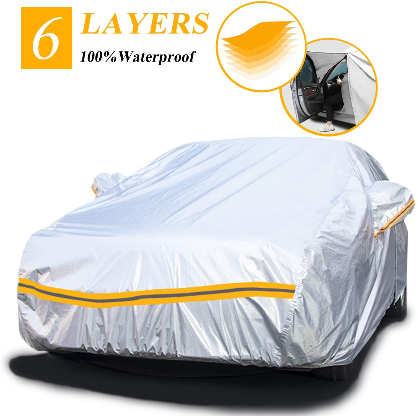 "Autsop Car Cover Waterproof All Weather,6 Layers Car Cover for Automobiles Outdoor Full Cover Hail UV Protection with Zipper, Universal A3-3XXL(Fits Sedan 194"" to 208"")"