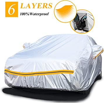 Upgraded Waterproof All Weather Full Car Cover Universal Outdoor Indoor All Season Windproof Dustproof Scratch UV Protection Sedan Covers MANNEW Car Cover Sedan Black, Fits Sedan up to 191-201