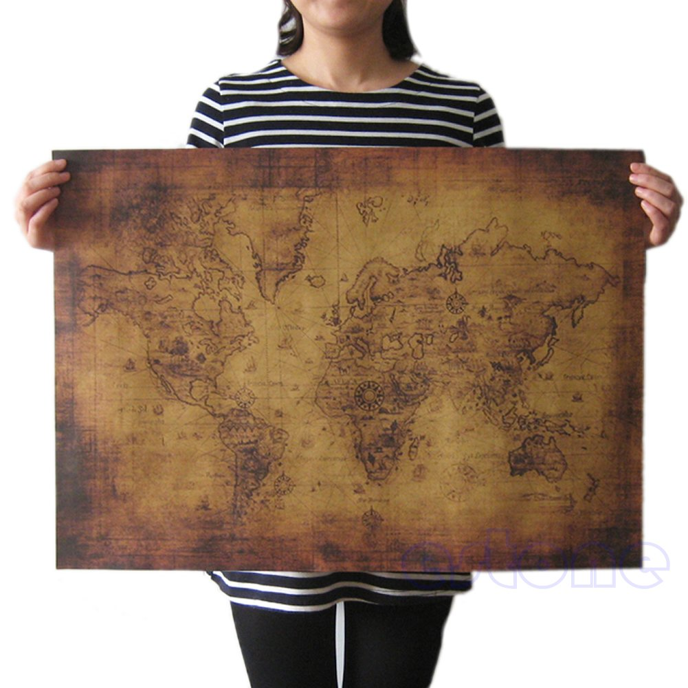 ruiruiNIE Grand Vintage Style Poster R/étro Globe Vieux Monde Carte Cadeaux 71x51cm