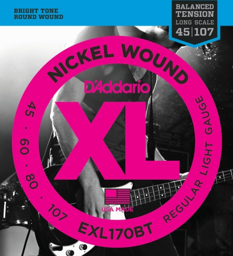D'Addario EXL170BT Nickel Wound Bass Guitar Strings, Balanced Tension Light, 45-107 Daddario Nickel Bass Strings