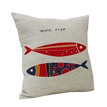 Dekokissen,Kissenbezug,Kissenhülle 40x40cm Vintage Fisch Muster