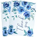 BIOBROWN Poly Mailer Flower Print Thank You Design for Shipping-10x13inch-100pcs,Blue