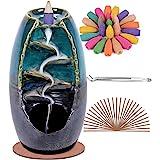 SPACEKEEPER Ceramic Backflow Incense Holder Waterfall Incense Burner, with 120 Backflow Incense Cones + 30 Incense Stick, Aro