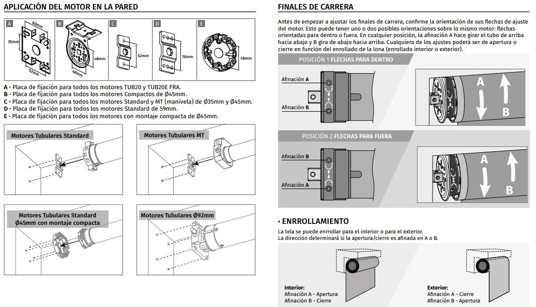 Motor profesional para persiana domestica Motorline TUB-EFRA para eje octogonal de 60mm con central de control y mando a distancia inal/ámbrico ELEVACI/ÓN HASTA 25KG