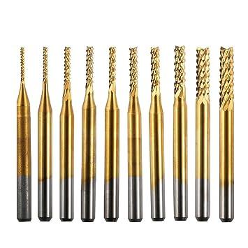 Hartmetall-Schaftfr/äser 10 St/ück Titan beschichtet Schaftfr/äser Hartmetall CNC-Fr/äser Werkzeuge 1,0-3,0 mm