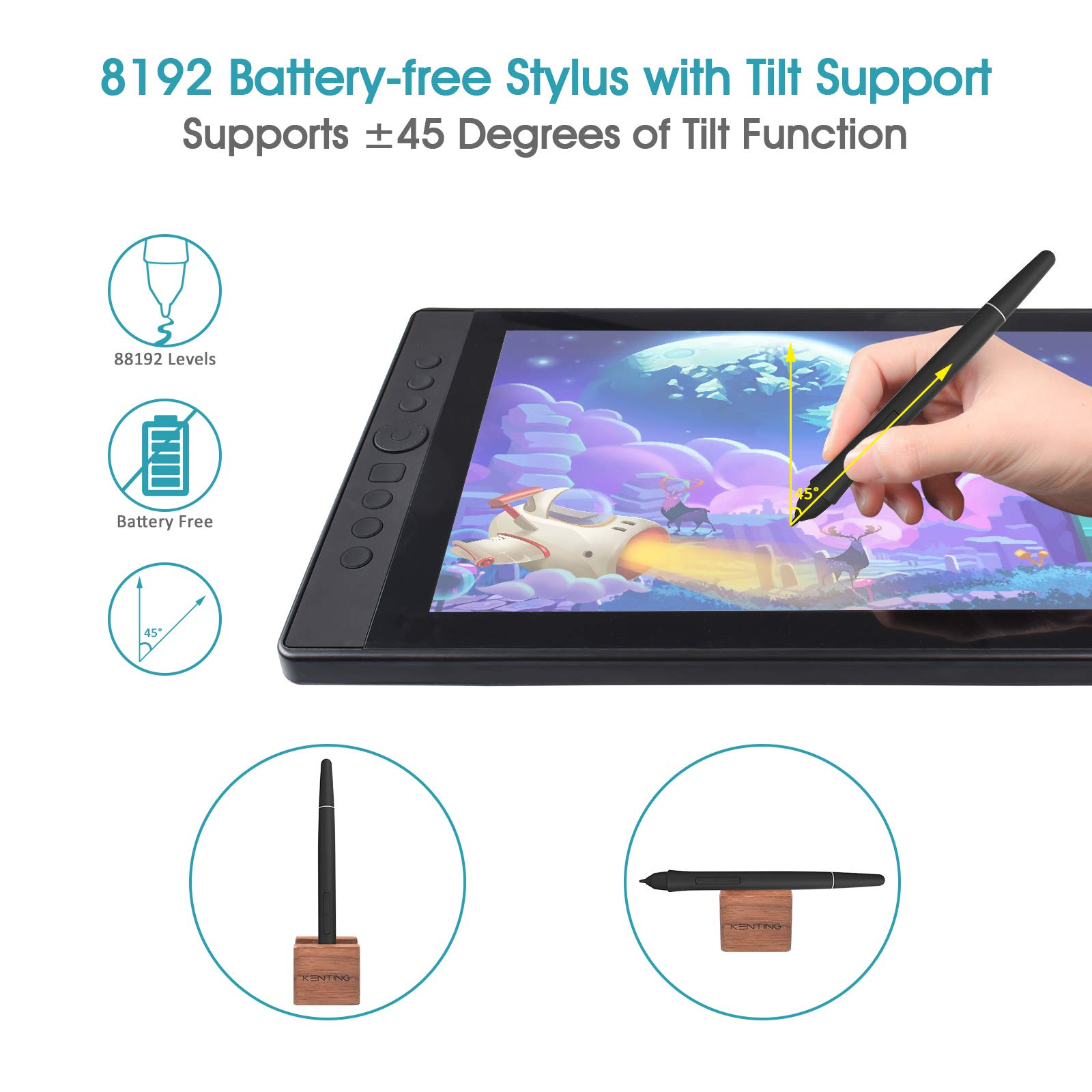 Kenting KT16 Drawing Tablet with Screen IPS Graphic Pen Display 15.6 inches Drawing Monitor Full HD 7 Express Keys and Dial Wheel 8192 Level Pressure Battery Free Stylus for Digital Art Windows Mac
