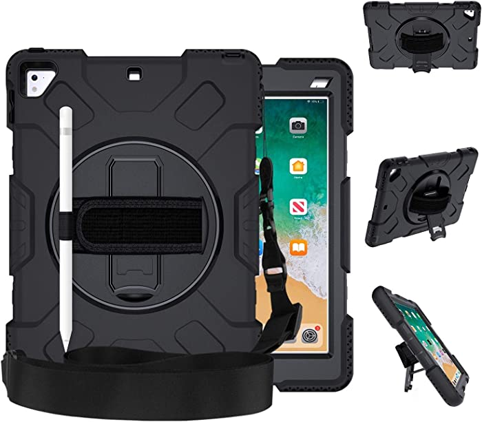 GROLEOA iPad 5th 6th Generation Case Anti-Drop Rugged Protective iPad 2018/2017 9.7 Case 360 Rotation Stand+Hand Strap+Shoulder Strap+Pencil Holder Case for iPad 5th 6th Air 2 Pro 9.7 (All Black)