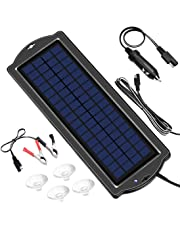 Solar Car Battery Trickle Charger, 12V 1.8W Solar Battery Charger Car, Waterproof Portable Amorphous Solar Panel for RV Motorcycle Boat Marine Trailer Tractor PowerSports ATVs Snowmobile