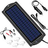 POWOXI 3.5W 12V Solar Trickle Charger for Car Battery, Portable and Waterproof, High Conversion Single Crystal Silicon Solar