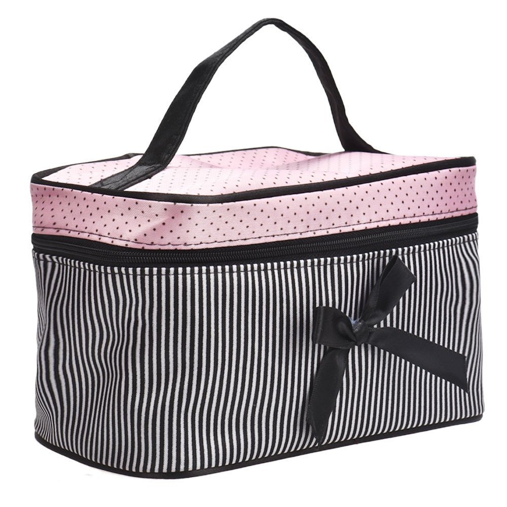 Ecosin 1PC Square Bow Travel Makeup Bag Holder Handbag,Makeup Artists Bags for Women & Cosmetic Organizers Storage Bag (B) by Ecosin _Beauty (Image #2)