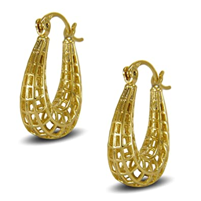 Blue Diamond Club - Gold Twisted Rope Hoop Earrings 9ct Gold Filled Creole Womens or Girls UOUMIUGYe