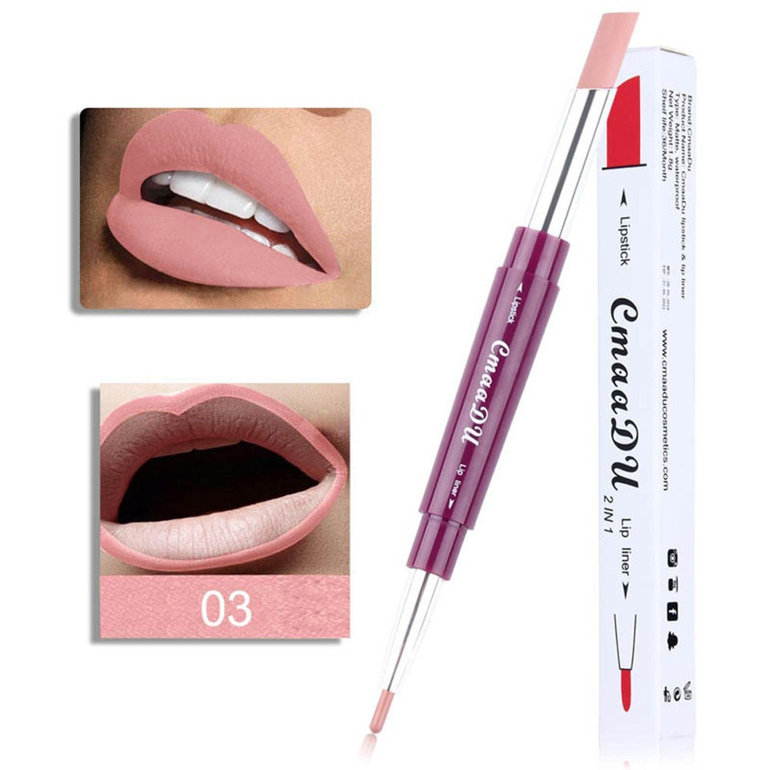 Womens Double-end Lasting Waterproof Lip Liner Lipstick Pencil Moisturizing GuGio