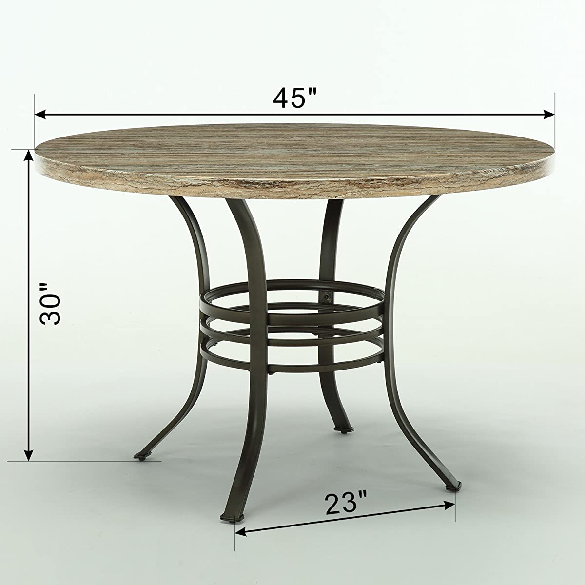 "Bestmart Inc 45"" Diameter Round Dining Table Kitchen Pub Bistro Bar Breakfast Table w/ Faux Wood top Metal Frame"