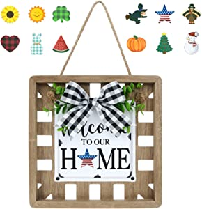 Winder Interchangeable Welcome Home Sign for Front Door Holiday Metal Farmhouse Home Sweet Decor Wooden Square Wall Hanging Art Summer Patriotic 4th of July Office Indoor Decorations