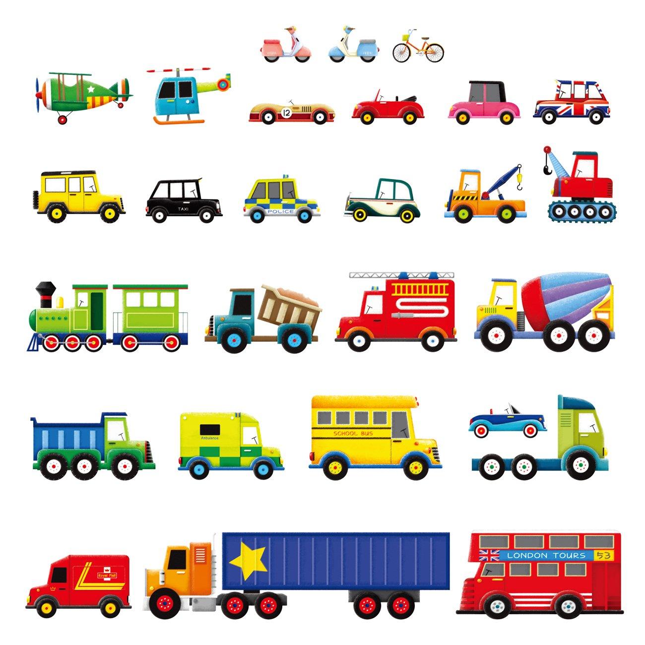 Decowall DW-1205 27 Transportes Vinilo Pegatinas Decorativas Adhesiva Pared Dormitorio Salón Guardería Habitación Infantiles Niños Bebés