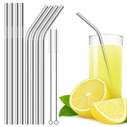 Dland 18/8 acero inoxidable Pajas, durable reutilizable de metal 8.46 en pajas de beber Set (4 Recta y Curva 4): para un cóctel, café con leche, té ...