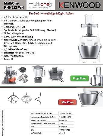 Kenwood KHH322WH 1000W 4.3L Color blanco - Robot de cocina (4,3 L, Color blanco, Metal, De plástico, 1000 W, 247 mm): Amazon.es: Hogar