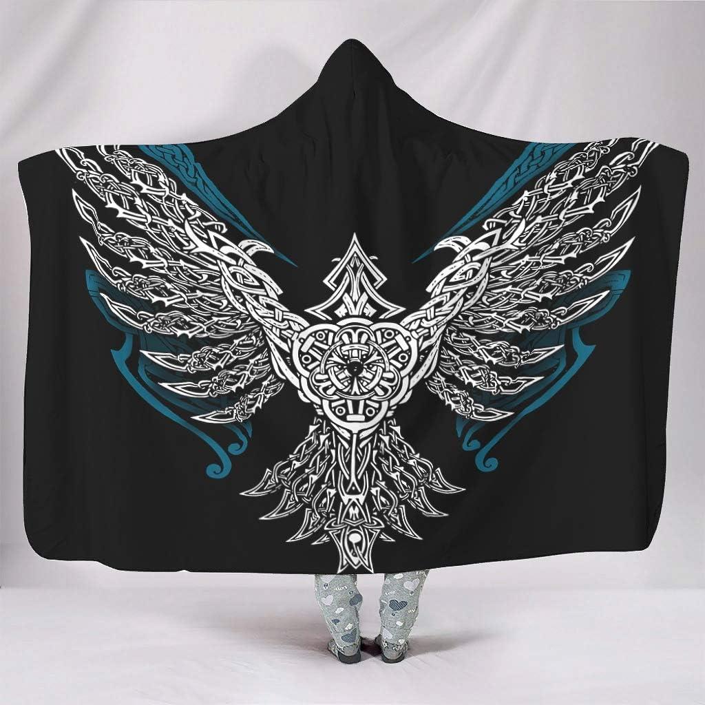 Ravens In Norse Mythology,VIKING,Huginn And Muninn,odin Blanket hoodie Microfiber Blanket hoodie Wearable Sherpa Throw Blanket With Hood for Kids Machine Washable Bedding Napping white 60x80 inch
