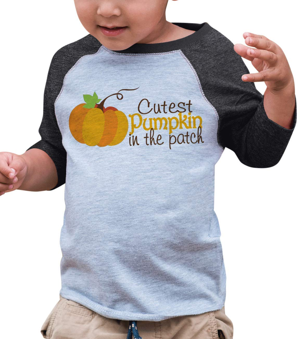 7 ate 9 Apparel Baby's Cutest Pumpkin in The Patch Thanksgiving 2T Grey Raglan by 7 ate 9 Apparel