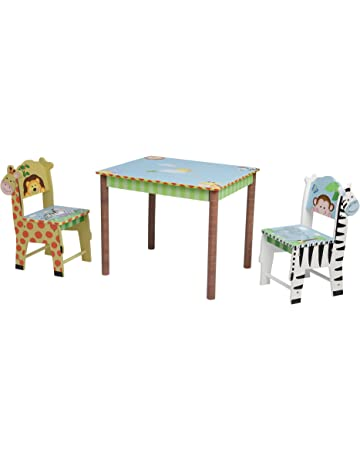 a4ede72731da Fantasy Fields - Sunny Safari Thematic Hand Crafted Kids Wooden Table and 2  Chairs Set Imagination