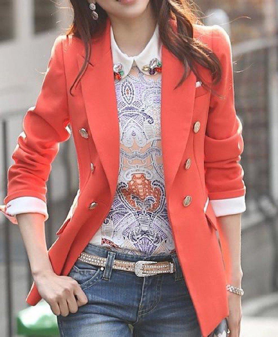 Doufine Womens Slim Fit Leisure Solid Colored Double-Breasted Blazer Orange S by DoufineWomen (Image #2)