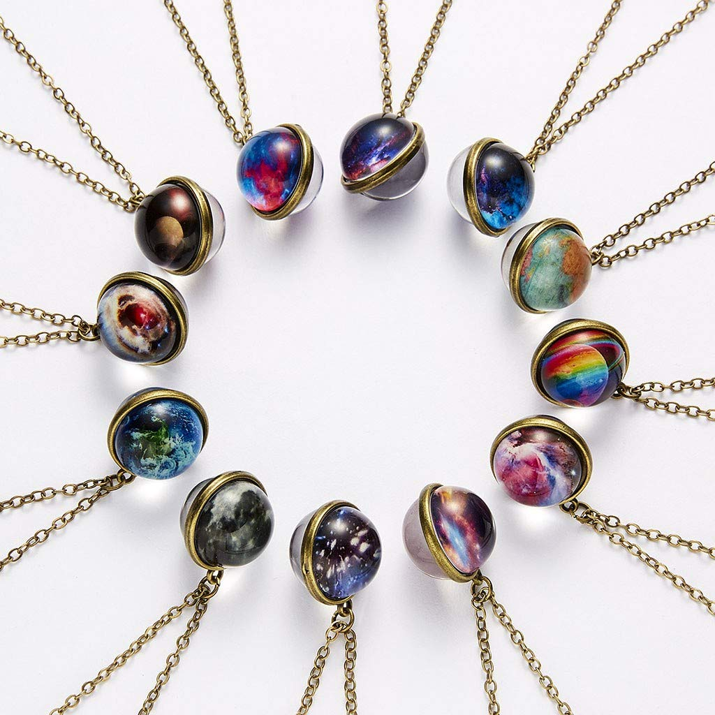 Star Necklace, SuperXC Galaxy System Double Sided Glass Dome Planet Necklace Pendant