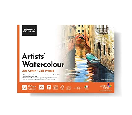 BRUSTRO Artist 25% Cotton Watercolour Pad Cold Pressed 200 GSM A4 Pad 20 Sheets Drawing Pads   Books