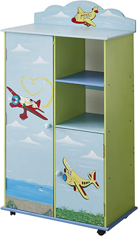 Wodeny Kids Wardrobes Bedroom Furniture Boys Childs Wood Wardrobe Childrens Storage Cabinet Kids Clothes Organiser Boxes With Pastel Water Paint Airplane Sea Gulls Ocean Blue Amazon Ca Home Kitchen