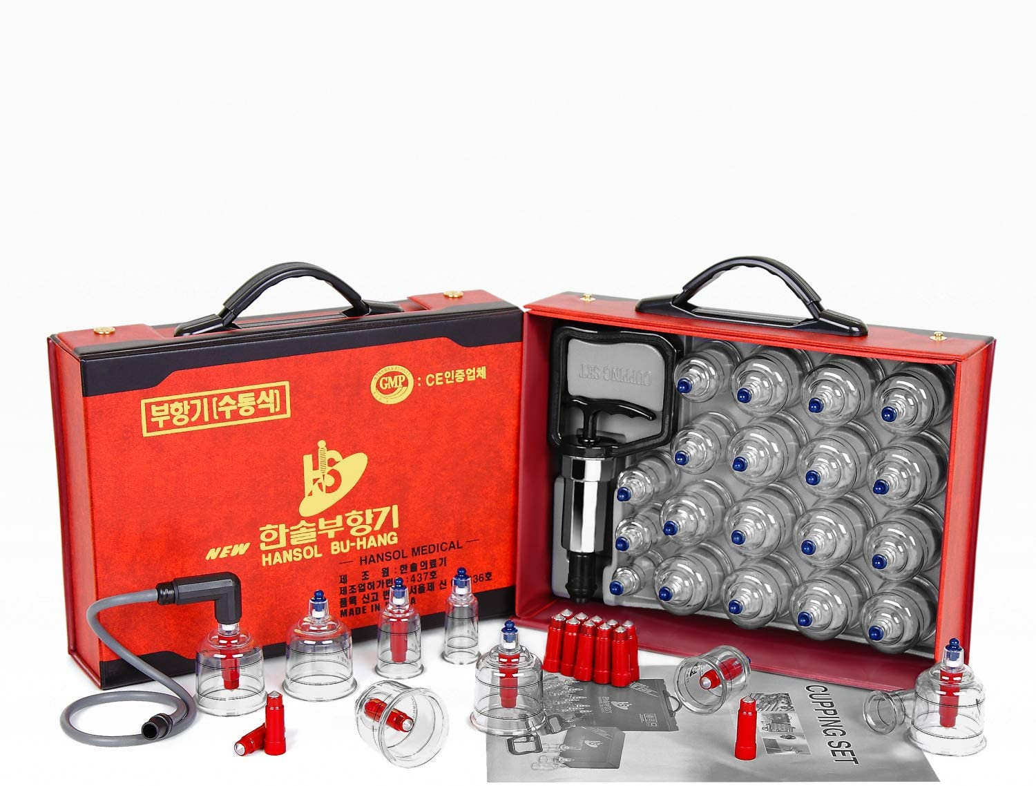 Hansol Professional Cupping Therapy Equipment Set with pumping handle 19 Cups /English Manual (Made in Korea)