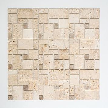 Mosaik Carrelage adhésif Travertin Naturstein beige combinaison ...