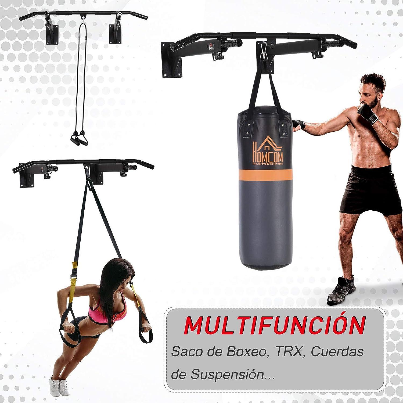 HOMCOM Barras de Dominadas para Pared Entrenamiento Muscular Pull Up para Casa Carga Máxima 150 kg Negro