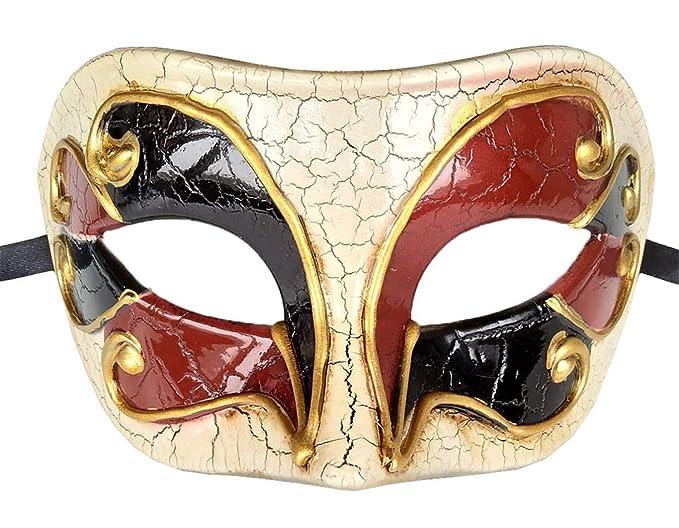 356ca6c7a9c Mens Masquerade Mask Checkered Cracked Vintage Halloween Mardi Gras Party  Venetian Roman Mask (B Wine