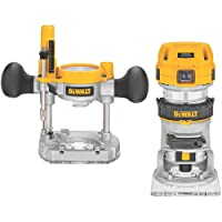 DEWALT DWP611PK 1.25 HP Max Torque Variable Speed Compact Router Combo Kit with LED's
