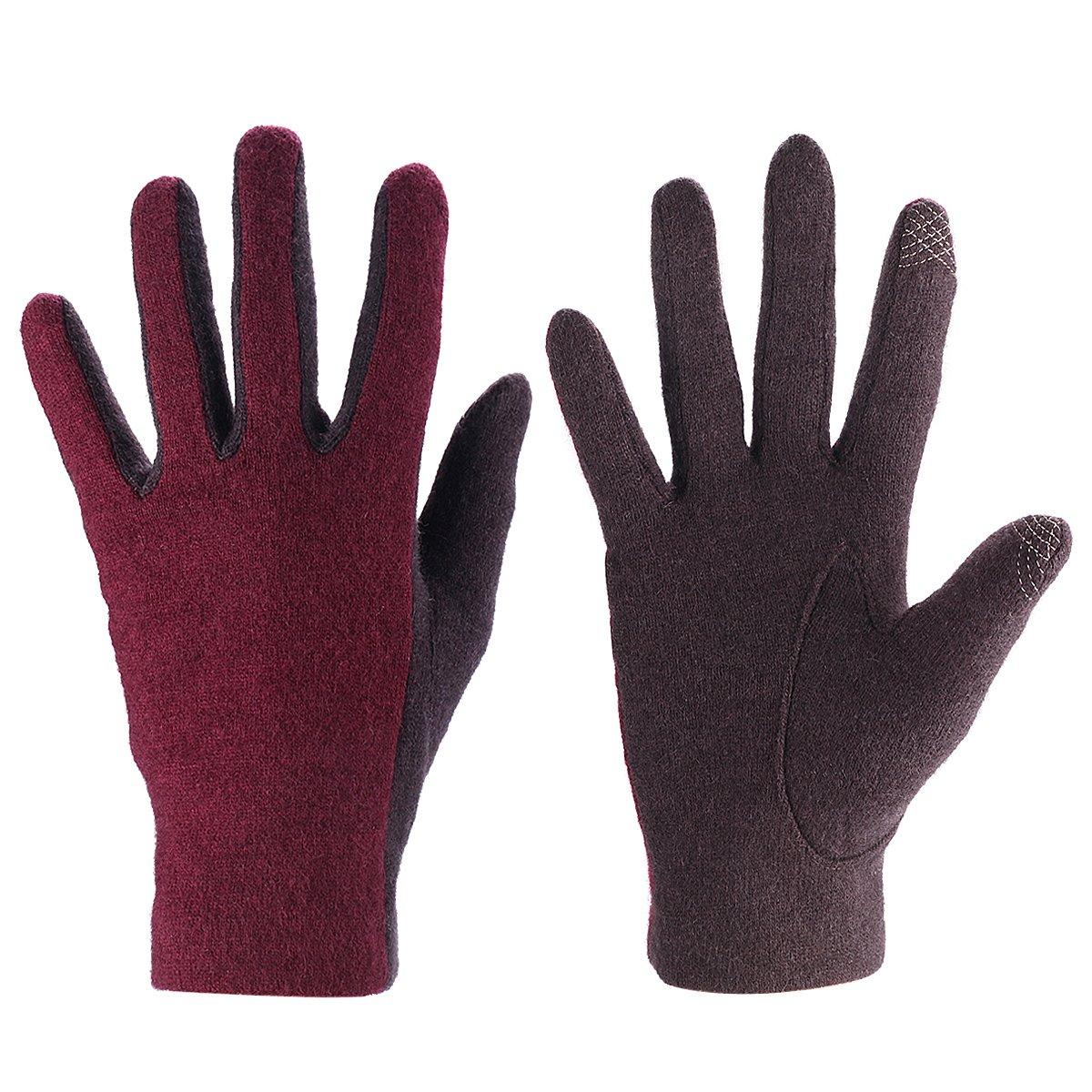 J&J Women Touchscreen Wool Glove for Cold Weather Daily Commute Driving Walking Running Dog Walking (Purple)