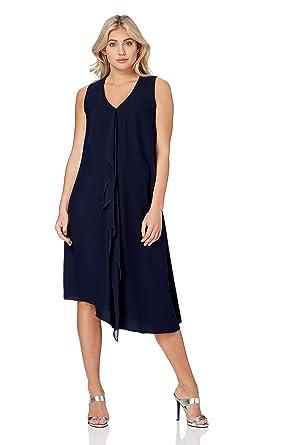 9f25dd8f259 Roman Originals Robe Femme Asymétrique Mi-Longue - de Cérémonie Été pour  Vacances- Bleu