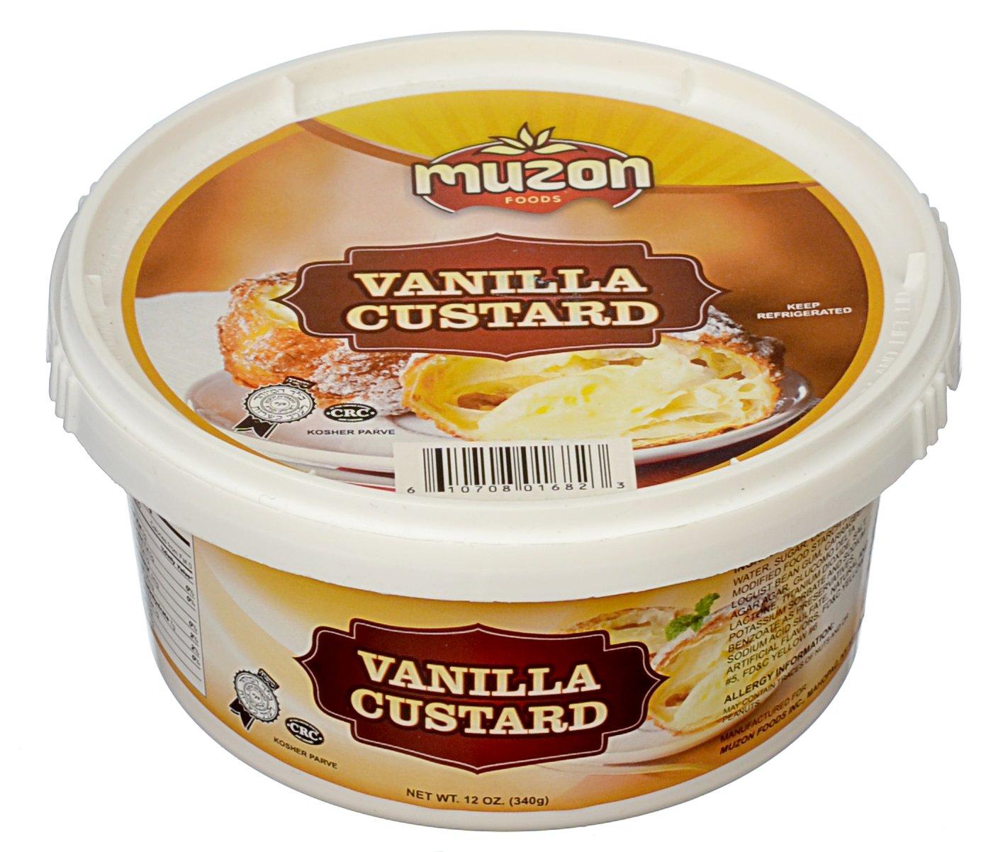 Muzon Chanukah Bavarian Cream Filling, Vanilla Custard Cream, Professional Bavarian Cream Pastry, Dessert, and Cupcake Filling, Cream filled donuts, krispy kreme doughnuts