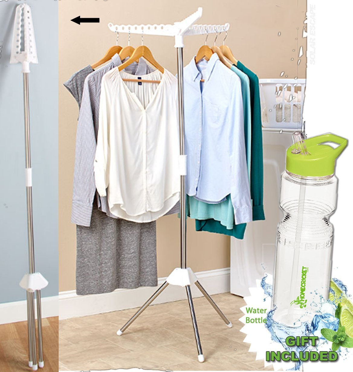 Gift Included- Air-dry Wet Garment Clothes Drying Pole Hang and Dry Rack for Home, Travel or College + FREE Bonus Water Bottle byHomecricket