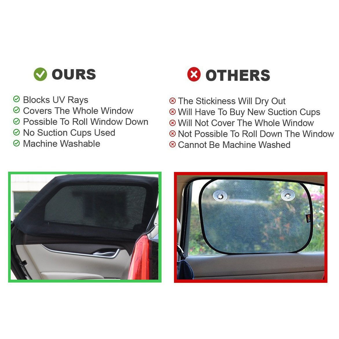 Car Side Window Baby Sun Universal Fit Rear Window Sunshade Nursing Window UV Protection for Your Baby and Car Interior Premium Quality Black