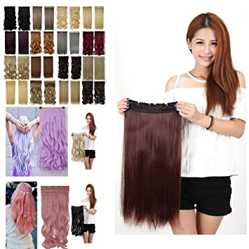 Dark Auburn One Piece Clip In Hair Extensions Long Straight Full Head 5 Clips 23 Inches