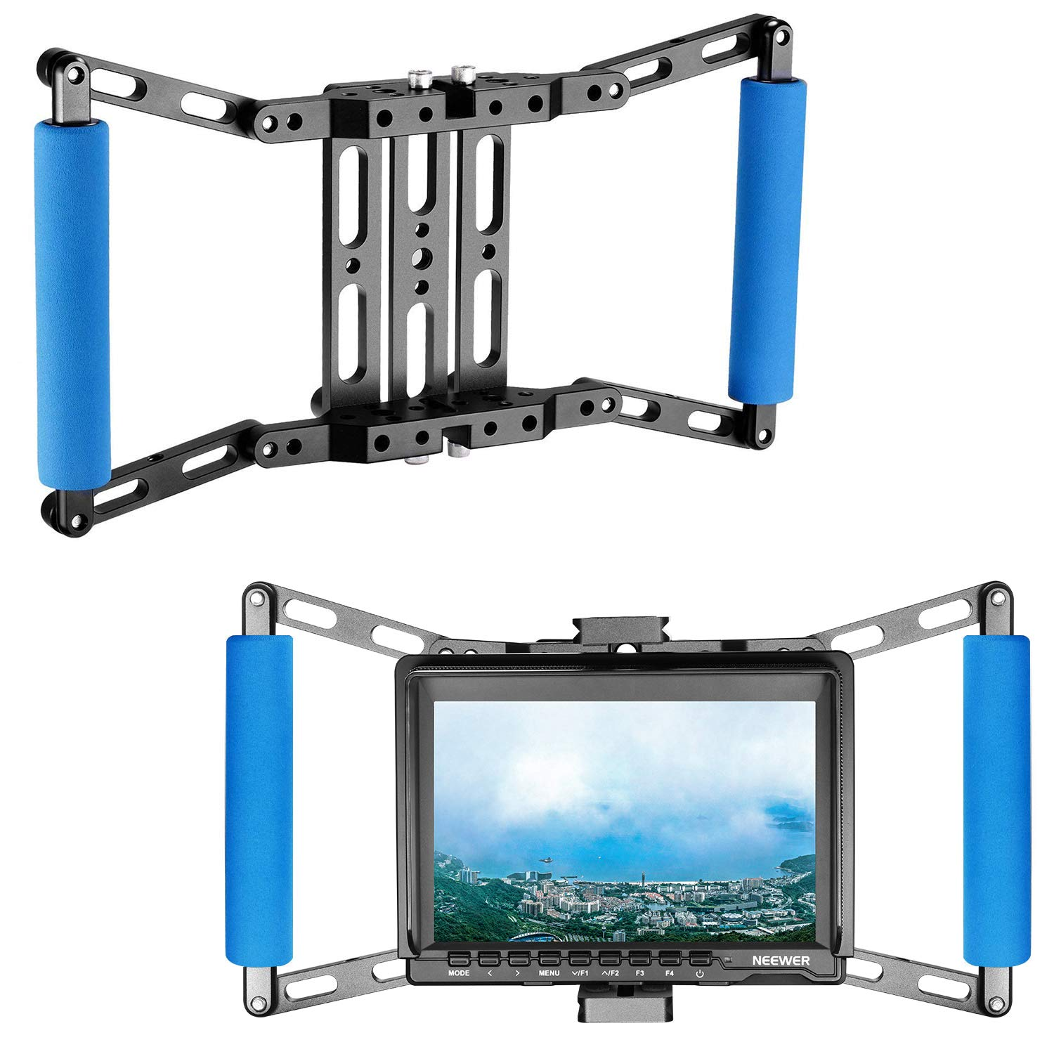 Neewer Director's Monitor Cage for 4 inch/5 inch/7 inch Camera Field Monitor, Includes Neewer NW759/74K/760 Feelworld FW759/759P/760/74K Aputure Lilliput Blackmagic Atomos Pangshi Ikan and More(Blue) 10090565