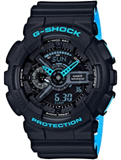 Mens Casio G-Shock Anti-Magnetic Black and Neon Blue Resin Watch GA110LN-